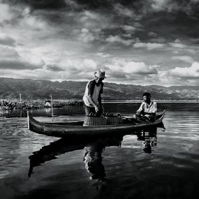 Fishermen @ Limboto Lake by Irwan Karim - Black & White Street & Candid (  )