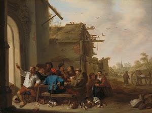 RIJKS: Cornelis Saftleven: Figures before a Village Inn 1642