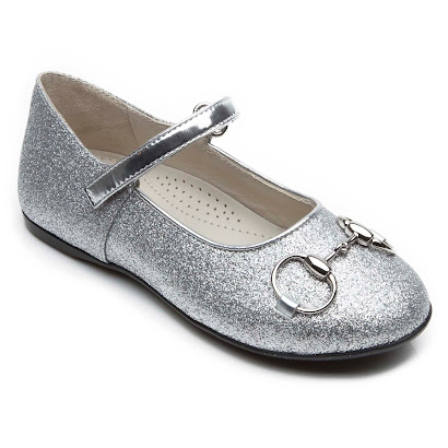 Gucci Junior Silver Glitter Shoe JUNIOR BALLERINA