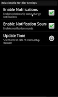 Screenshot of Facebook Relationship Notifier