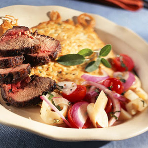 Patrick Sage-y Crusted Lamb Loin with Angel Hair Pancake and Broken Hearts of Palm-Tomato Salad