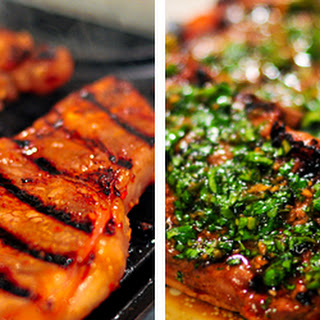 Korean-Style Steaks with Spicy Cilantro Sauce