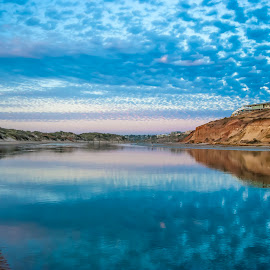 A South Australian Sunset by Sharon Wills - Landscapes Waterscapes ( water, southport, blue, sunset, onkaparinga river, beach,  )