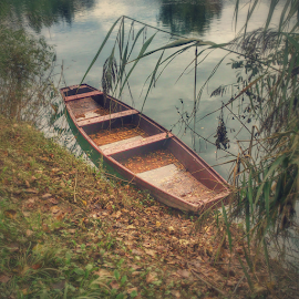 On the river bank by Oliver Švob - Instagram & Mobile Android ( water, korana, instagram, fisherman boat, croatia, boat, wooden boat, sony, sony xperia, karlovac, river side, river bank, mobile, river )