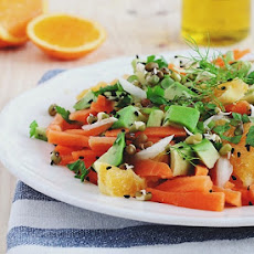 Carrot Avocado Salad with Ginger-Orange Dressing
