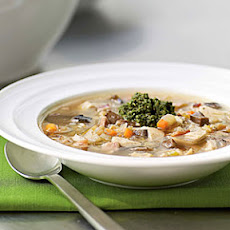 Chicken Barley Soup with Walnut Pesto