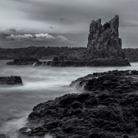 Cathedral Rocks by Bradley Rasmussen - Black & White Landscapes ( canon, water, kiama, bradley rasmussen photography, cathedral rocks, waterscape, black & white, sea, ocean, nsw, ef 24-70, 6d, photoshop cc, australia, cloud, sunrise, surf, rocks,  )