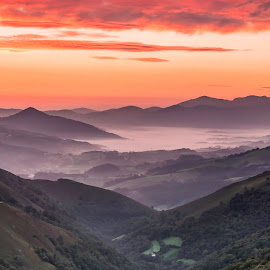 View from Baigorri Pass. by Liam Coburn Dunne - Landscapes Sunsets & Sunrises ( orange, mountains, dawn, nikon d800, pyrenees, valley, sunrise, panorama, mist,  )