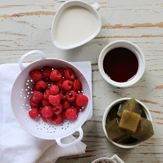 Raspberry Pomegranate Smoothie with Green Tea Ice Cubes