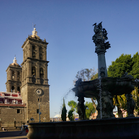 Puebla downtown by Cristobal Garciaferro Rubio - City,  Street & Park  Fountains