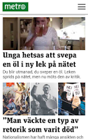 Screenshot of Metro Nyheter