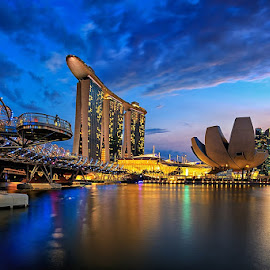 Under the Helix by CK Lam - City,  Street & Park  Skylines ( blue hour, mbs, marina bay sands, art science museum, cityscape, marina bay, singapore, city )
