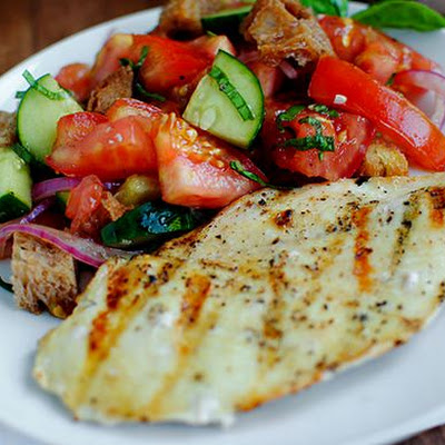 Panzanella with Cucumbers & Pickled Onions