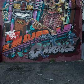 Graffiti Jute Box by Justin Duff - Buildings & Architecture Other Exteriors ( graffiti, art, skeleton, detroit, wall, Urban, City, Lifestyle )