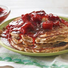 Whole Wheat Pancakes with Strawberry-Rhubarb Compote