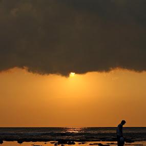 me and my reflection by Rully Kustiwa - Landscapes Sunsets & Sunrises ( water, sunset, sea, beach, alone, sun, man,  )