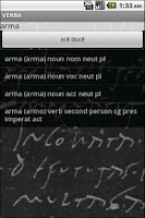 Screenshot of Verba-Android Latin Dictionary