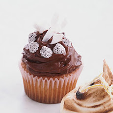 Chocolate-Frosted Golden Cupcakes with Coconut