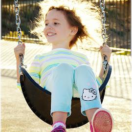 Einstein Hair and I dont care! by Scott Zinda - Babies & Children Children Candids ( kenzie, backlit, park, swings, hair, sun )