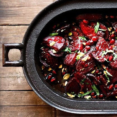 Moroccan Roasted Beets with Pomegranate and Pistacio