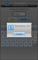 Screenshot of Fecha Matrículas España