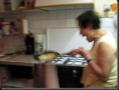 Josephine flips a crepe