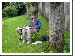 Linda painting La Maison Pinard
