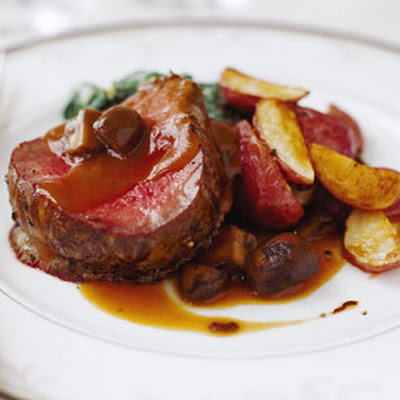 Beef Tenderloin with Mushrooms and Espagnole Sauce