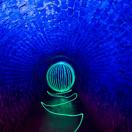 Orb in the Hole by Rob McAvoy - Digital Art Abstract ( tunnel victoria led orb  long exposure )