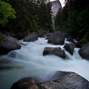 River on the John Muir Trail by Joe Boyle - Landscapes Waterscapes ( stream, flowing, jmt, flow, rocks, river, john muir trail )