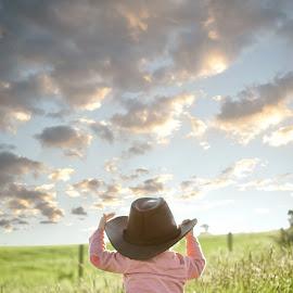 Watcher Of the Skies by Dominic Lemoine - Babies & Children Children Candids ( backlit, cowboy, sky, wales, meadow, boy )