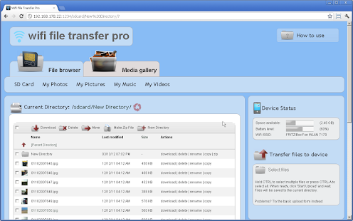 WiFi File Transfer Pro Screenshot