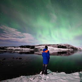 Watching the northern lights by Marius Birkeland - Landscapes Waterscapes ( sky, aurora borealis, aurora, people, man )