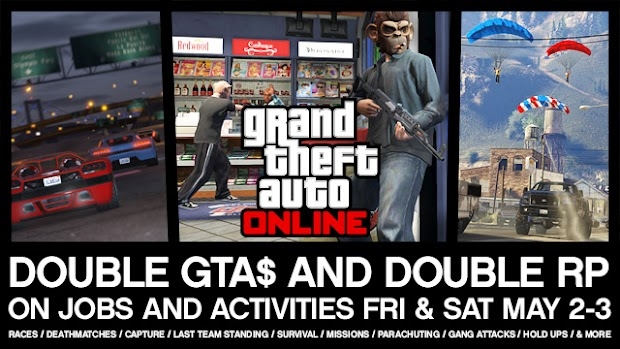 GTA Online offering double currency and double experience this weekend
