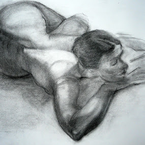 I would like to know by Jasna Dragun - Drawing All Drawing ( charcoal, nude, act, women, drawing,  )