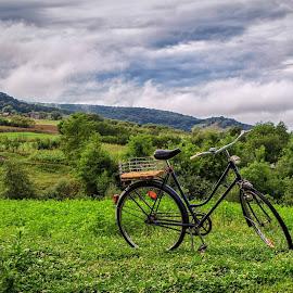 One bike by Mirela Savu - Transportation Bicycles ( clouds, bike, romania, landscape, mures,  )