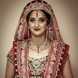 Bride in Red by Par Kang - Wedding Bride ( red, green, asian bride, bride, portrait, asian )