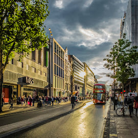 Oxford Street by Luigi Sapia - City,  Street & Park  Street Scenes ( london, shopping, oxford street, rainy weather, city centre )