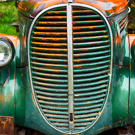 Grill & Hood -- Old 1939 Ford 85 Pickup by Robert Castellino - Transportation Automobiles ( truck, automobile, rusted truck, old time, rusty, pickup truck, rust, ford )