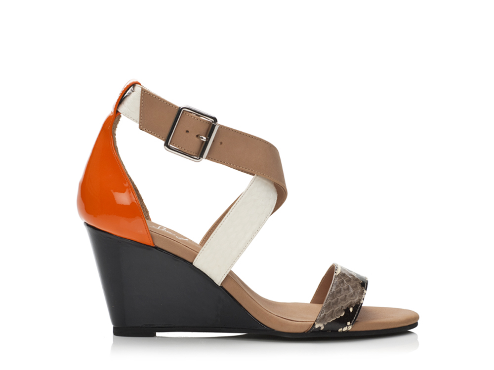Shoes Multi color in snake skin and patent leather Wedge Sandals