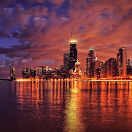 Chicaglow by Seth Guting - Buildings & Architecture Other Exteriors ( cityscapes, skyline, city lights, reflections, chicago )
