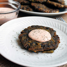 Spinach Potato Latkes with Sriracha Sour Cream