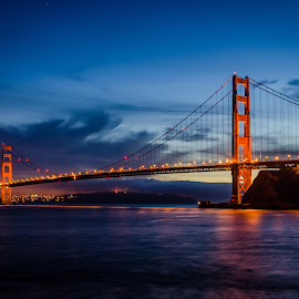 Golden Gate Bridge at Night by James Valluzzi - Buildings & Architecture Bridges & Suspended Structures ( night photo, golden gate bridge, suspension bridges, bridges, san francisco )
