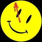 Dibujo de una cara sonrriente, circular y de color amarillo, con una mancha de sangre escurriéndole desde el ojo izquierdo hasta la mitad del rostro