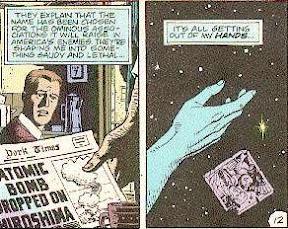 Dr. Manhattan se da cuenta que perdió el control de las cosas, y deja caer una foto de él, cuando era humano, y su novia sobre la superficie de Marte