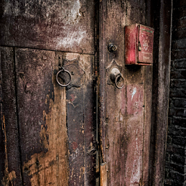 Old Door by Darren Small - Buildings & Architecture Homes ( mail, handle, wood, hdr, texture, community, knocker, door, paint, splinter, chinese, mailbox, close, open, knock, red, grain, box, closed, peel, antique, knob, china )