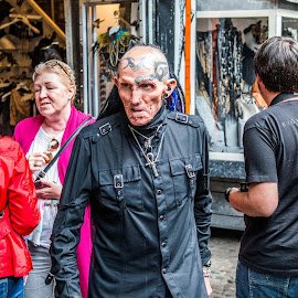Double Take by Sheldon Anderson - People Street & Candids ( england, gothic, unusual, camden, tattoo, odd, man )