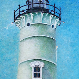 Nobska Lighthouse by Robin Amaral - Painting All Painting ( shed, hill, tower, sky, portals, glass, lighthouse, shingles, beacon, painting, shadows,  )