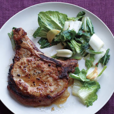 Soy-Ginger Pork Chops with Stir-Fried Bok Choy