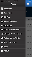 Screenshot of UCCU Mobile